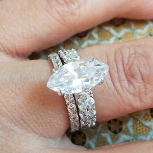 3ct Marquise Engagment Ring Eternity Bands 3pc set